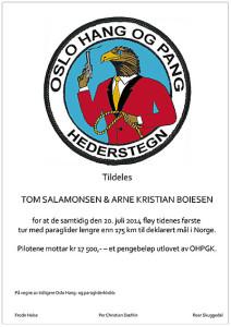 2014-Diplom-OHPGK Hederstegn-Deklarert mål over 175 km
