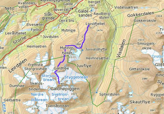 pionerflyving-galdhøpiggen-kart med rute